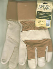 RW Men Grain Cowhide Leather White-Brown Winter Work Wrist Glove 100g Thinsulate
