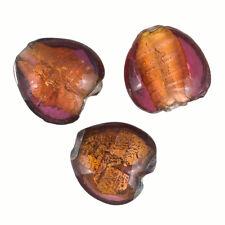 SILVER Foderato Rosa/Arancione 20 mm Vetro Perline Cuore Confezione Da 3 (R20/5)