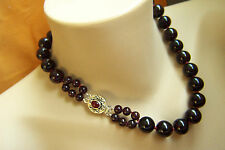 "Amazing Estate Heavy Large Garnet Bead Sterling Necklace 18 3/4"" 190 g"