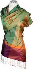 Seidenschal 100% Seide, Silk ècharpe foulard silk soie scarf stole Fransen Grün