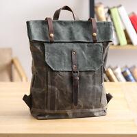 "Water Resisant Vintage Waxed Canvas Backpack Fold-Over Satchel 14"" Laptop Bag"