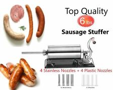 6 LBS Homemade Sausage Stuffer Stainless Steel Manual Meat Filler Metal Nozzles