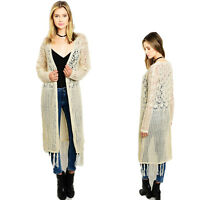 Haute BOHO Western Open Gypsy Eyelet Fringed Cream Hippie Long Sweater Cardigan