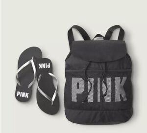 Victoria's Secret PINK Drawstring Backpack Bag Black Silver Flip Flop Set M(7-8)