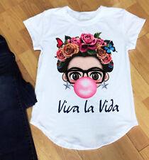 Frida Kahlo VIVA LA VIDA Summer  Woman T-shirt Print Short Sleeve white BLOUSE