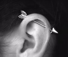"14G 1.5"" SURGICAL STEEL ARROW INDUSTRIAL EAR CARTILAGE PIERCING BARBELL RING"