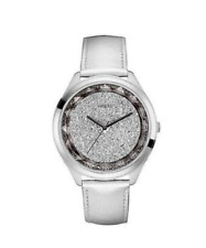 GUESS SILVER-TONE SPARKLING OVERSIZED REFLECTIONS WATCH 45MM