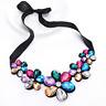 Charm Pendant Necklace Rhinestone Crystal Choker Chunky Bib Statement Jewelry