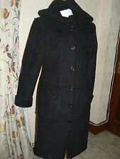 Black Faux suede Coat with hood Size 10- 12 by Nikita