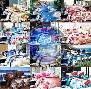 Duvet Cover set 3D Quilt Cover set 3 Pcs Bedding Animal Floral Rose 55 GSM