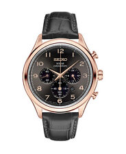 New Seiko SSC566 Solar Chronograph Rose Gold Tone Black Leather Strap Mens Watch
