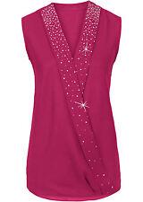 Stilvolle Bluse ohne Ärmel mit Nieten-Applikation Gr.42