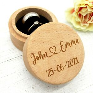 Engravable® - Personalised Wedding Ring Box Nine Design Choices with Engraving
