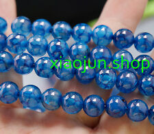 """10mm Blue Dragon Veins Agate Round Gemstone Loose Beads 15""""AAA"""