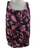 Lands End tankini TOP Only size 14 bathing suit padded bra blousy pink paisley