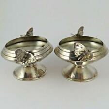 ANTIQUE 1868 GORHAM AESTHETIC MOVEMENT BUTTERFLY STERLING SILVER SALT CELLARS