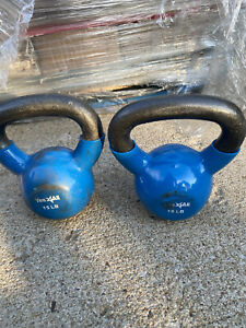 (2) 15 LB Kettlebell Pair Set Hand Weights 30 Pounds Total Rubber Coated