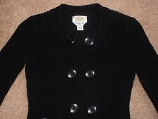 Talbots Petites Double Breasted Dark Navy Blue Mercerized Cotton Sweater Sz P