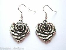 HEART SHAPED ROSE Tibetan Silver SP Earrings Gift Bag TATTOO VALENTINE Gift Bag