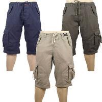 Mens River Island New 3/4 Long Cotton Cargo Shorts Blue / Grey/ Beige - Free P&P