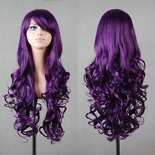 Wigs,Mo qingxian  violet long Ondulé animation Cosplay fête plein cheveux