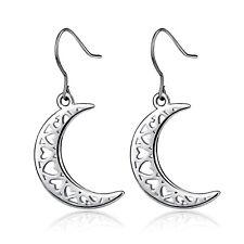 ξ Ohrring Mond Mondsichel verziert mit Herz Herzchen Sterling Silber 925