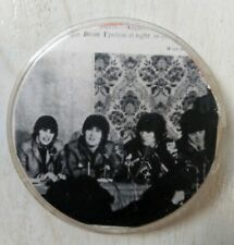 Old vintage 70s rare photo Beatles badge pin 56 mm / 2.2 in pinback PLASTIC USSR