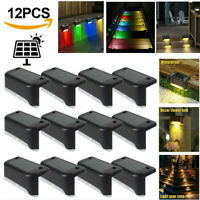 8/12x Solar LED Deck Light Outdoor Path Garden Stairs Step Fence Lamp Waterproof