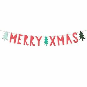 'Merry Xmas' Paper Banner Red with Festive Christmas Trees 1.2m