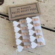 Mini White Wooden Heart Pegs Set of 10 - Perfect for Home Weddings Christmas Peg