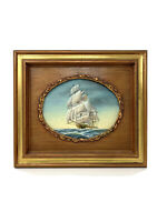 Vintage M Grant Signed Clipper Ship Oil Painting Carved Wood Oval Frame
