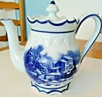Cracker Barrel Blue and White Porcelain 7 Cup Coffee Tea Pot Blue & White China
