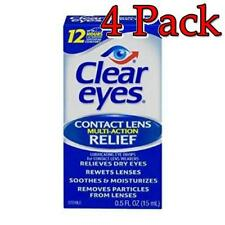 Clear Eyes Contact Lens Multi-Action Relief Drops 0.5oz, 4 Pack 678112653218A275