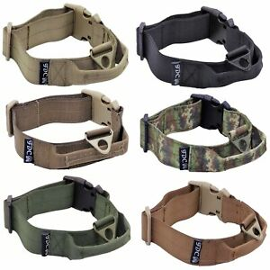Heavy Duty Tactical Military Dog Collars Handle Width 1.5in Plastic Buckle M-XXL