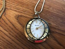 "Vintage Lucerne Swiss Made Wind-up Ladies Pendant Watch w/24"" Gold Tone Chain"