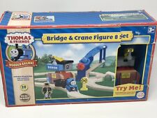 NEW Thomas & Friends Wooden Railway Bridge & Crane 8 Figure Set Real Wood Set