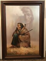 "42"" TROY DENTON MASTERWORK VTG. OIL PAINTING NATIVE AMERICAN SUBJECT ON CANVAS"