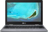 "ASUS 11.6"" Chromebook Intel Celeron N3350 4GB RAM 16GB eMMC Flash Memory Gray"