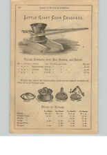1890's PAPER AD 3 PG Little Giant Corn Crusher Parts Repair Eagle Hand Sheller