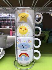 4Xpcs Set SMILEY CLASSIC COFFEE MUG TEA CUP DECOR POP HAPPY FACE