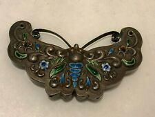 New listing Antique Chinese Tibetan? Silver cloisonne large Butterfly Pendant marked