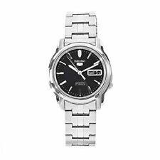 Seiko 5 Automatic Black Dial Silver Stainless Steel Mens Watch SNKK71K1