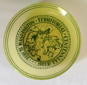 Vintage mid century 4 irridescent green glass Washington Centennial dishes 1953