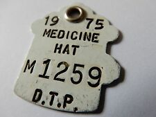 VINTAGE 1975 D. T. P. MEDICINE HAT BRITISH COLUMBIA? DOG TAG NO.M1259 METAL D729