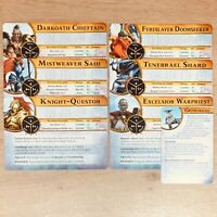 Warhammer Quest Silver Tower Character Cards x 6 (Full Set) + Gryph-Hound Card