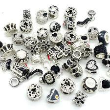 Black 10pcs mix Silver CZ European Charm Beads Fit Necklace Bracelet Wholesale