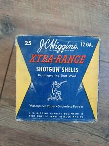 Vintage JC Higgins Xtra-Range Shotgun Shells 12 GA Empty Ammo Box