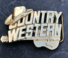"VINTAGE SOLID BRASS COUNTRY & WESTERN MUSIC ""BARON BUCKLES"" BELT BUCKLE"