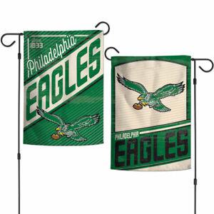 """PHILADELPHIA EAGLES 2 SIDED RETRO GARDEN FLAG 12""""X18"""" YARD BANNER NFL LICENSED"""
