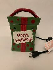 "Scentsy Christmas Square Green Box With Red Bow ""Happy Holidays"" Warmer"